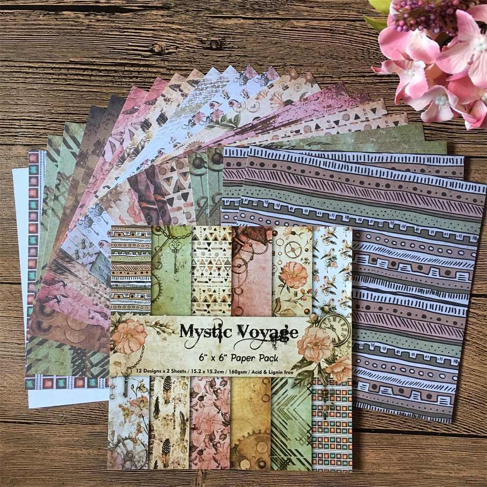 24 Stks/pak 6*6 Inch Mystic Voyage Patroonpapier Pack Scrapbooking Diy Planner Kaart Maken Journal Project Brief Pad papier
