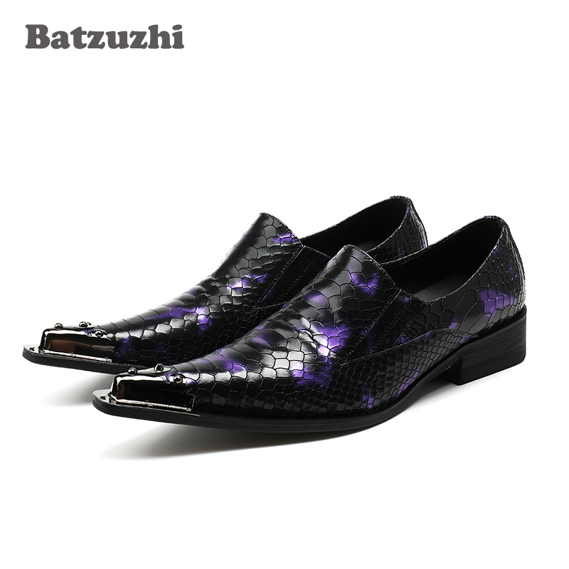 New 2018 Leather Men Shoes Pointed Toe Slip on Metal Tip Men Dress Shoes Evening Party Wedding Flats Plus Size US12 Siz 46