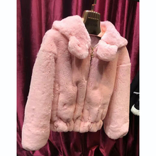 Special Sale Cute Style Genuine Rex Rabbit Fur font b Women b font Overcoat Pink Young