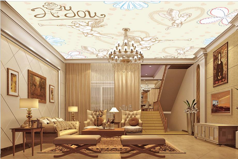 custom 3d ceiling murals European-style angel flowers ceiling wallpaper 3d photo wallpaper ceiling  for living room wall paper blue earth cosmic sky zenith living room ceiling murals 3d wallpaper the living room bedroom study paper 3d wallpaper