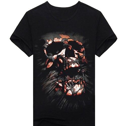 Hommes de Noir À Manches Courtes Creative Crâne Numérique O-cou 3D T-Shirt Imprimé Top