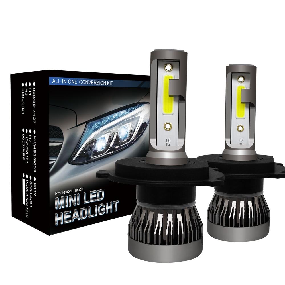 2PCS H7 H4 H1 H11 H8 9005 9006 HB3 HB4 9012 Mini LED Car Headlight Bulb