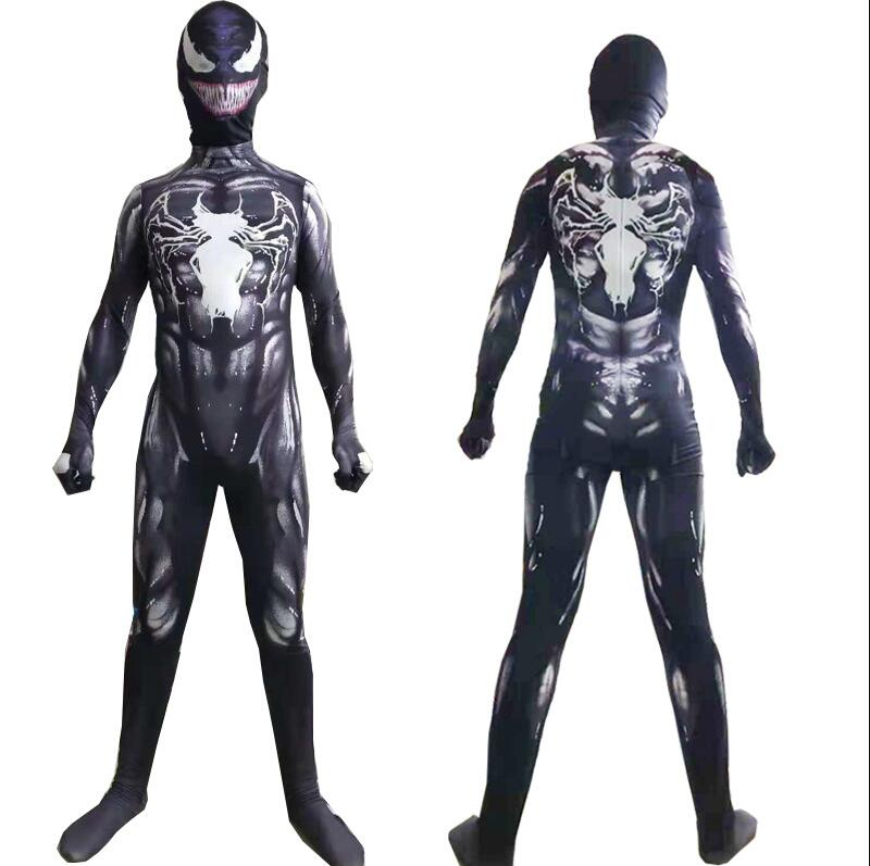 New 2018 Venom Symbiote Costume Movie Venom Cosplay Black Zentai Suit Halloween Costumes For Men Adult Kids