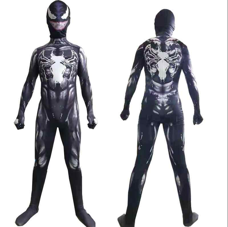 Nuevo 2018 Venom disfraz simbionte película Venom Cosplay traje Zentai negro disfraces de Halloween para hombres adultos niños