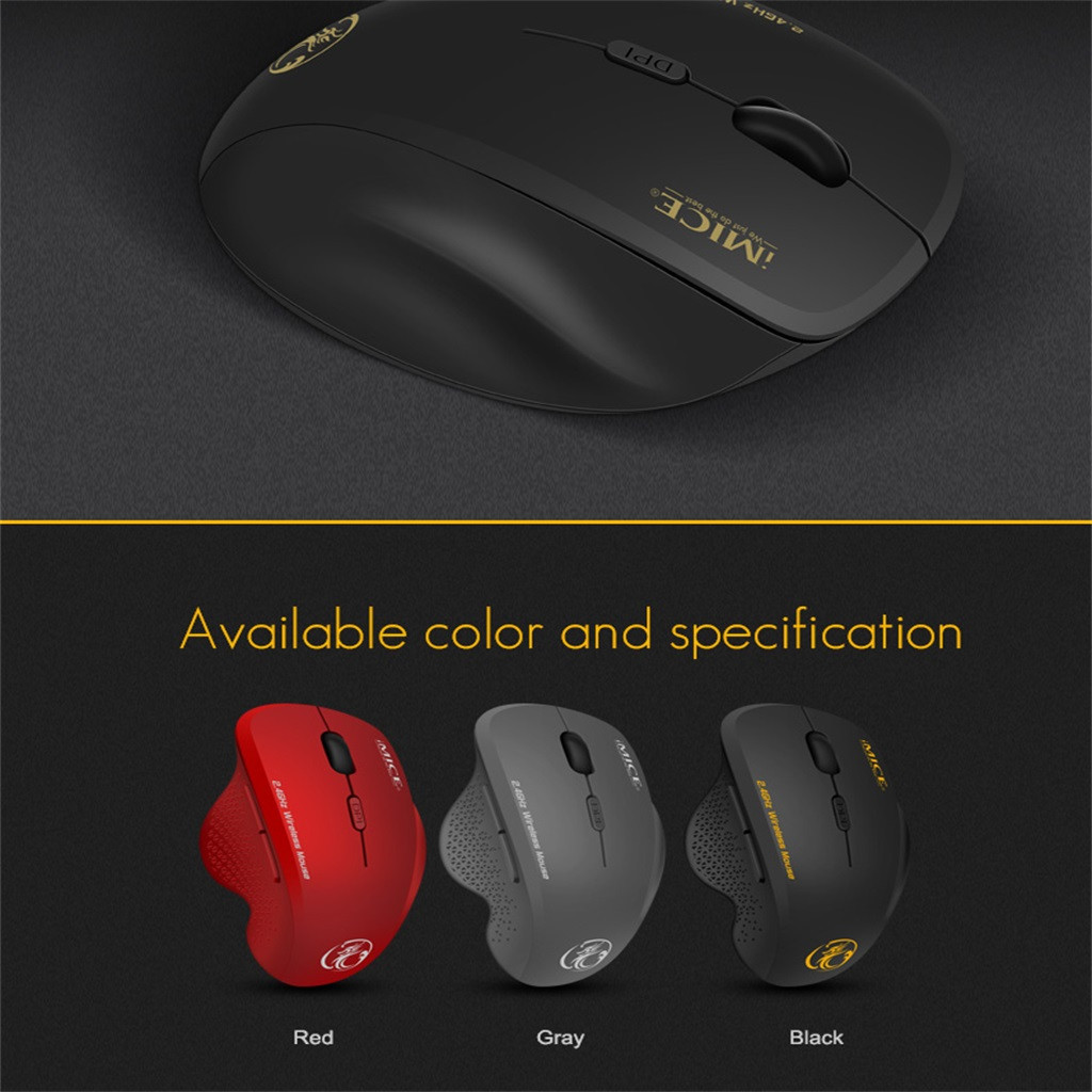 Color : Red G6 Wireless Mouse 2.4G Office Mouse 6-Button Gaming Mouse