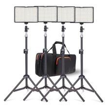 Zestaw Oświetleniowy SAMTIAN 4 Zestawy Fotografia 160 Lampa Światła LED Studio Foto Video Ze Statywem i NP-F550 Baterii Do LUSTRZANEK CYFROWYCH kamera