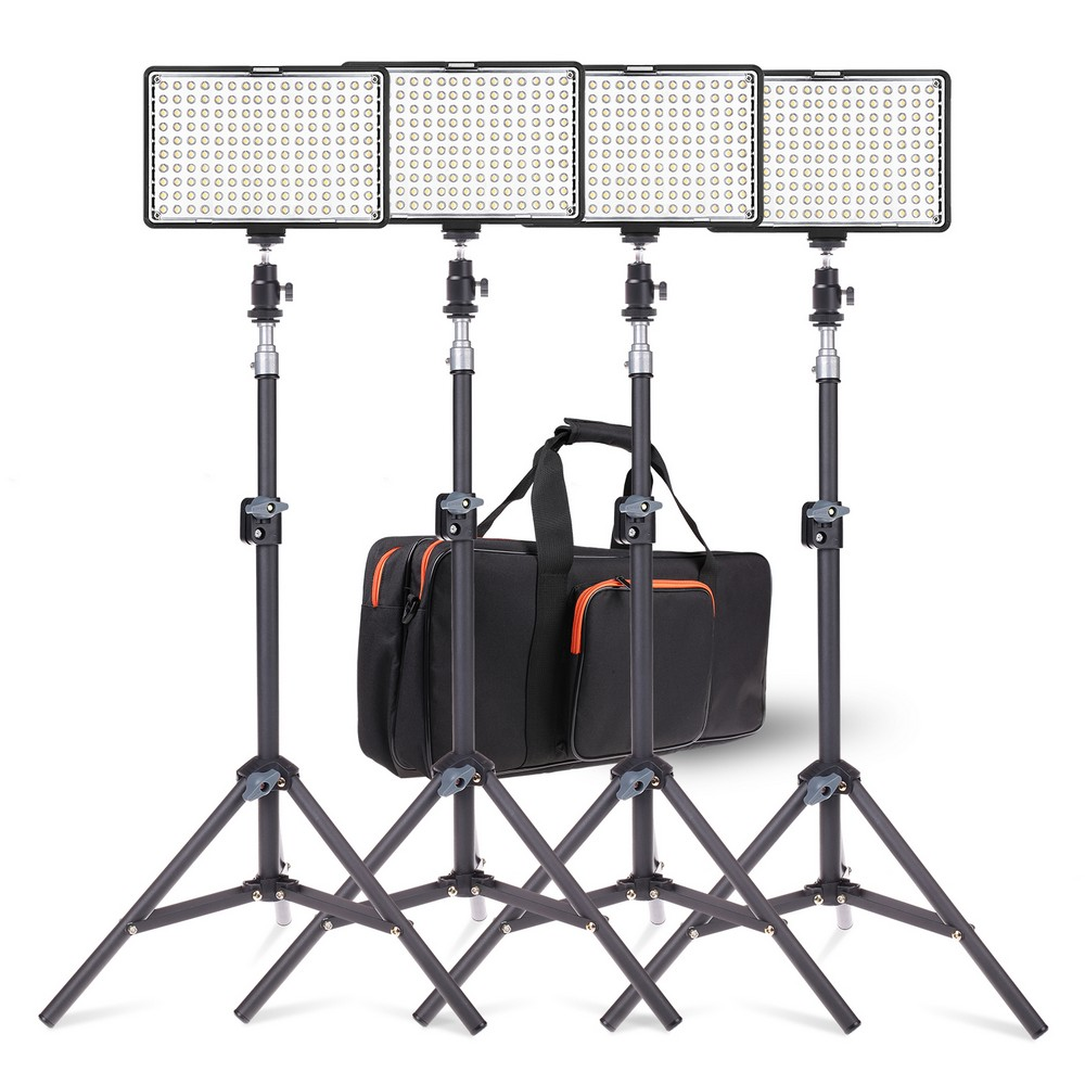 SAMTIAN 4Sets Photography Lighting Kit 160 LED Studio/Video/Photo Light Lamp With Light Stand For Canon Nikon DSLR Camera photographic lighting led film light nicefoto mf 2000f video photo studio flash light lamp power 200w 5500k with dc ac input