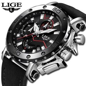 Image 2 - LIGE montre de luxe analogique en cuir pour homme, horloge à Quartz masculine de marque, sportive, style militaire, Date, 2019
