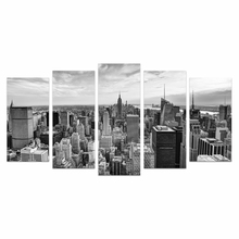 5 Pieces HD Printed City Canvas Art Printing Black and White Cityscape Landscape Wall Picture for Living Room /VA170814-5