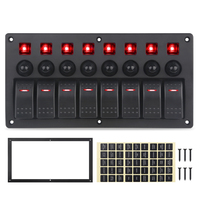 8 Gang Switch Panel Car Styling Waterproof 12V/24V Car Auto Boat Marine Red Led Rocker Switch Panel Circuit Breakers