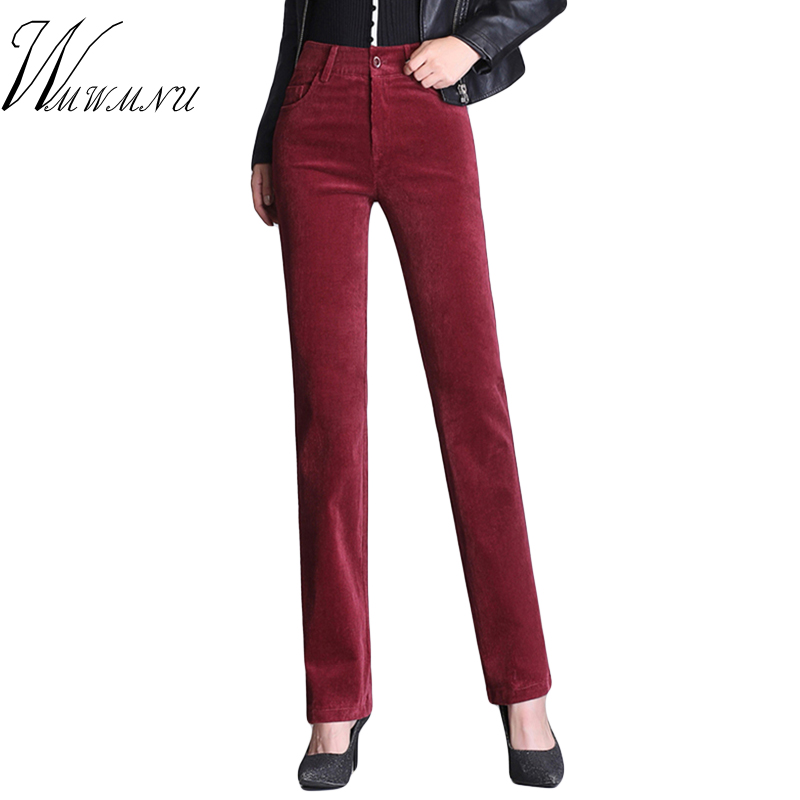 Spring Women Casual Corduroy Skinny Pants Hot Sale Solid Colors High Waist Trousers Laides Office Elastic Straight Pants 5XL