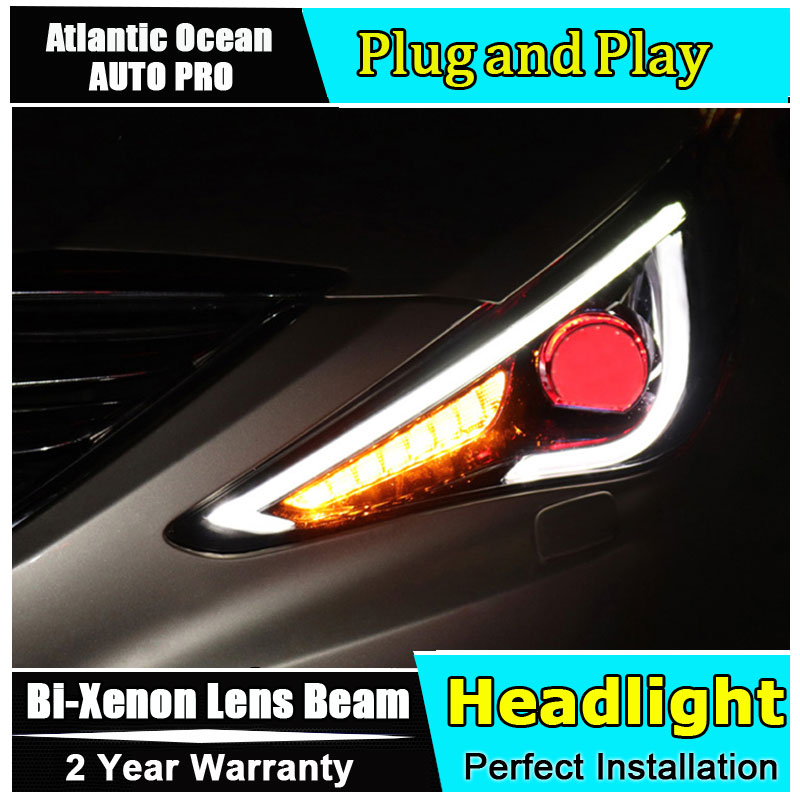 Auto part Style LED Head Lamp for Hyundai Sonata led headlight 2011-2015 for Sonata drl H7 hid Bi-Xenon Lens angel eye low beam auto part style led head lamp for nissan x trail led 14 15 headlights for x trail drl h7 hid bi xenon lens angel eye low beam