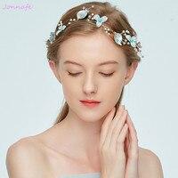 Jonnafe Ánh Sáng Màu Xanh Hoa Phụ Nữ Prom Mũ Sắt Bridal Headband Tiara Pearls Wedding Tóc Trang Sức Phụ Kiện