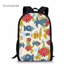 ELVISWORDS Cute Floral Animal Print School Bag Sets for Teenager Girls Novelty Elementary Schoolbag Junior Children Bookbags