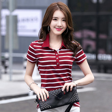New Fashion Style Striped Woman Modal And Cotton Polo Shirts 2 Styles