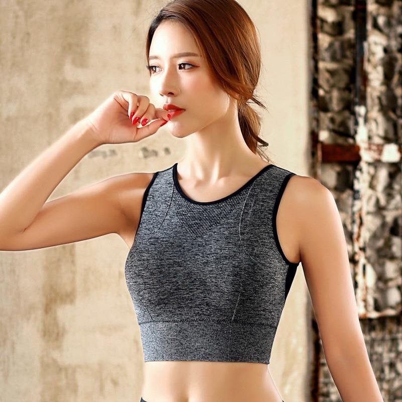 Sports Bra Women Mesh Fitness Top Bra Shakeproof Padded Yoga Bra