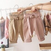 Осенние детские штаны для маленьких мальчиков и девочек повседневные брюки с поясом одежда для малышей длинные штаны, S9412