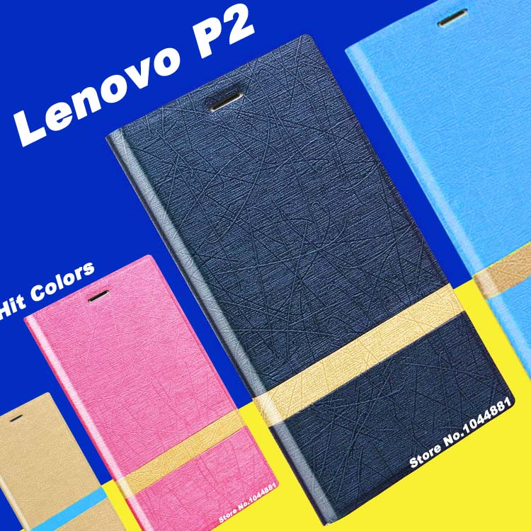 Lenovo p2 case cover leather New wave PU flip leather case for Lenovo p2 cover case Hit color Lenovo p 2 case cover
