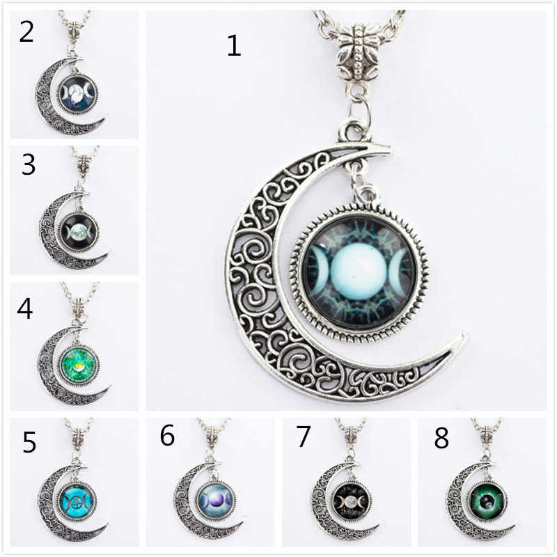Black Moon pendants for women wiccan Necklace collar Wicca Pentagram blue  Glass pendant crystal colgante collar men wholesale