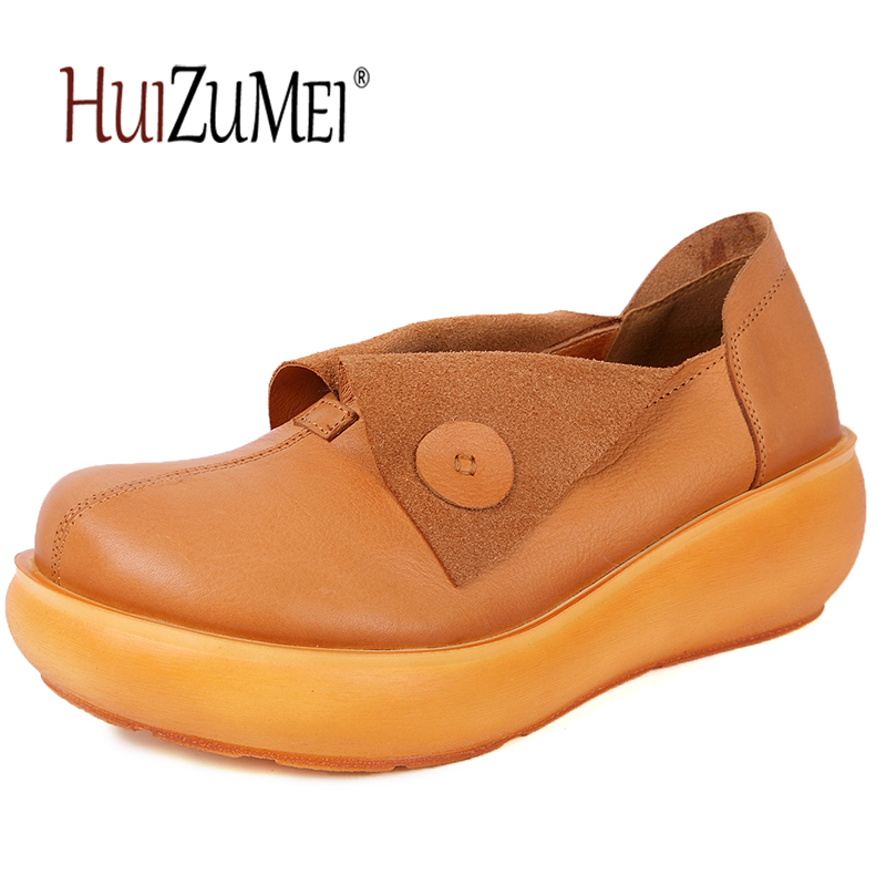 HUIZUMEI women genuine leather single shoes round toe retro Flats thick heel increased within Muffled ladies shoes
