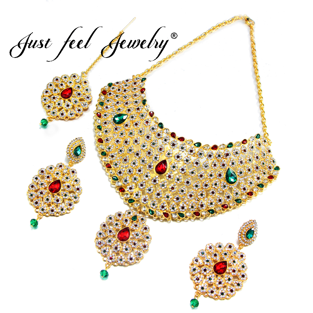 JUST FEEL Luxury Gold Color Rhinestone Jewelry Sets India Necklace Choker Earrings Headdress Arab/Africa Ethiopian Jewelry Gift