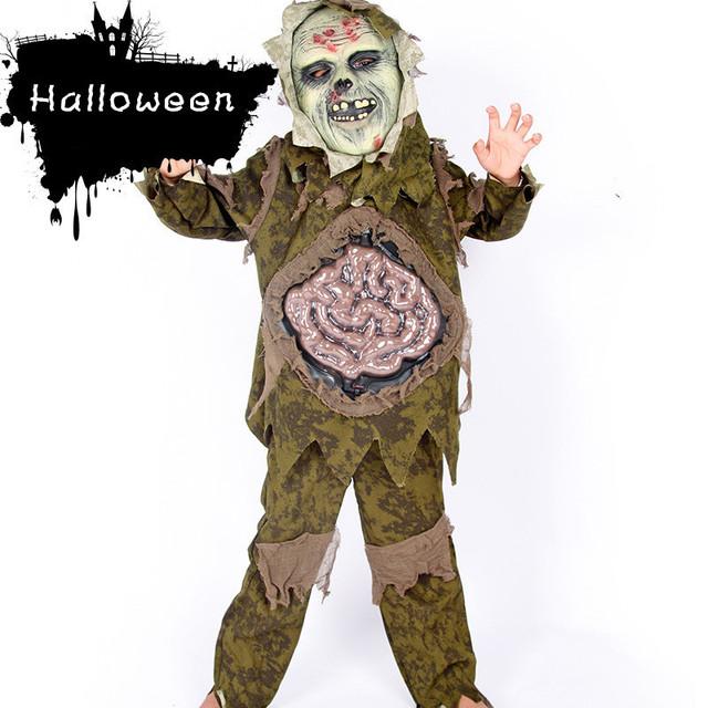 Crianças Menino Conjunto Roupa de Crianças do Dia Das Bruxas Cosplay Terno Traje Horror Assustador Zombie Fantasma Grande Intestino Outfits Partido Do Pântano