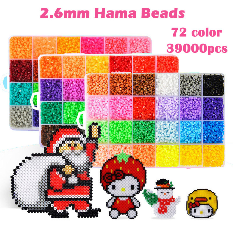 72 Color Perler Beads 39000pcs box set of 2.6mm Hama Beads for Children Educational jigsaw puzzle DIY Toys Fuse Beads Pegboard artkal mini beads 36 color box set funny food grade eva educational toys diy hama beads handmade gift cc36 page 2