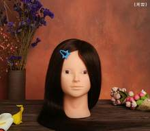 Training Head 100% real hair Professional 68cm Brown hairdressing dolls head Mannequin Hairdressing Styling Mannequin Head(China)