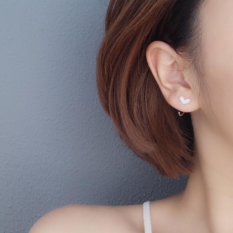 925 Sterling Silver Allergy-free Love Hook Ear Stud Earrings For Women Girls Female Ladies Student 2019 S925 Jewelry Accessories