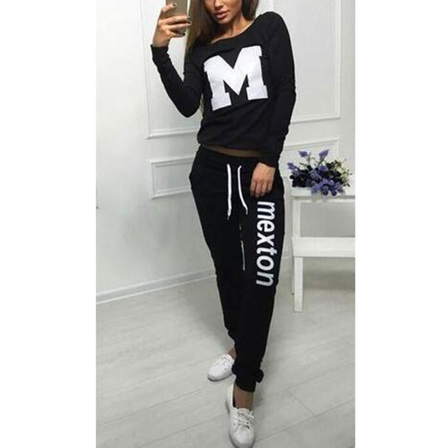 2016 Fashion Women Sportswear Autumn Winter Printed Letter M Long-sleeve Casual Suit 2 Piece Set Swearshirt + pants