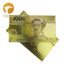 24k Colour Gold Banknote Rare Chile 1000 Pesos Plated Colour Gold Banknote Collection Business Gift