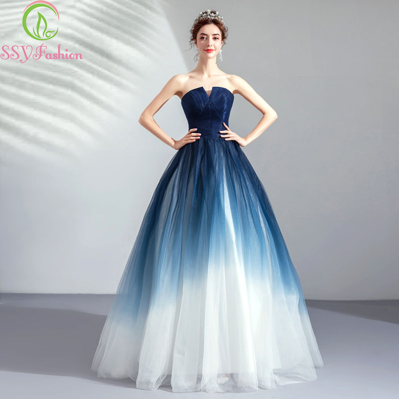 SSYFashion 2019 New Banquet Elegant Evening Dress Strapless Simple Navy Blue Gradient Color A-line Floor-length Prom Formal Gown