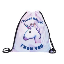 Who Cares Drawstring Bag emoji unicorn more majestic mochila 3D Print daily Sac A Dos School Bags for Teenage Girls Mochilas