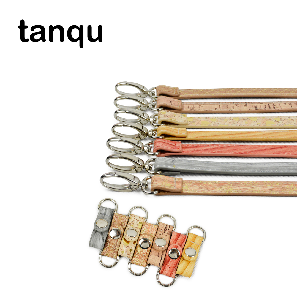 tanqu Short Wood Grain Leather PU Clip Closure Adjustable Hook belt Shoulder Strap Combination for Obag O Bag Pocket Handbag