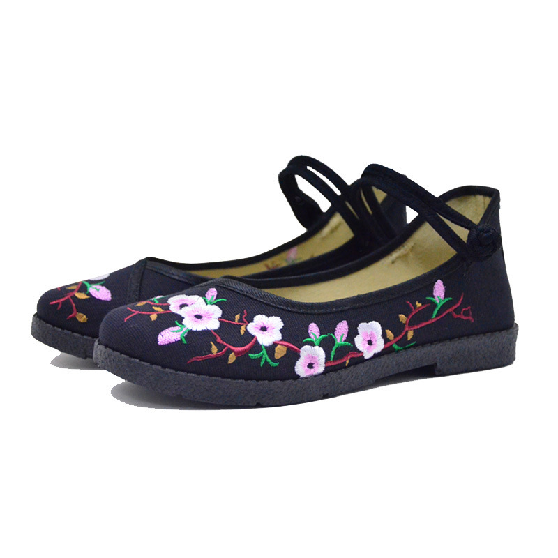 Fashion 2017 Old Peking Cloth Shoes, Chinese Style Totem Flats Mary Janes Embroidery Casual Shoes, Red+Black Women Shoes S189 (49)
