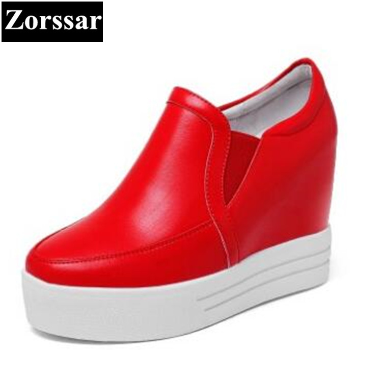 {Zorssar} 2017 Genuine leather Womens platform Pumps Shoes Wedges High heels Women height increasing shoes female casual shoes 2016 new women shoes spring womens platform genuine leather shoes pumps wedges female heels shoes sapatos femininos xj 056