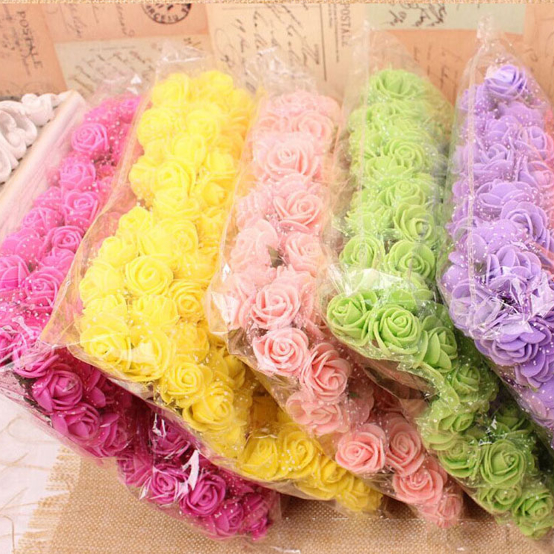 144pcs 2cm Mini Foam Rose Artificial Flower Bouquet Multicolor Rose ...