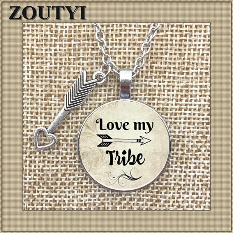 Cinta My Tribe Pesona Liontin Paduan Kaca Kalung, MOM 'S Hadiah, Cinta My Tribal Kalung, arrow Pesona Suku