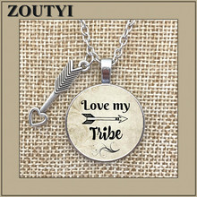 LOVE MY TRIBE Charm Alloy Pendant Glass Necklace, Moms Gift, Love My Tribal Arrow Tribe