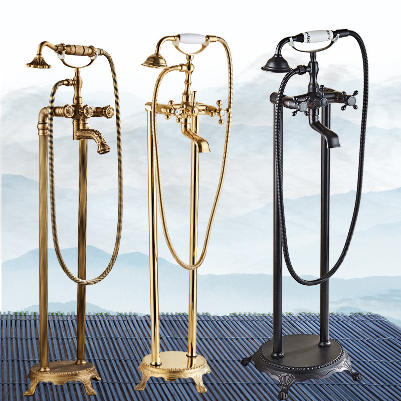 Floor standing Bathtub Faucet Golden Shower Head System Vertical Bathroom Shower Set Antique Rain Shower System Luxury Bathroom