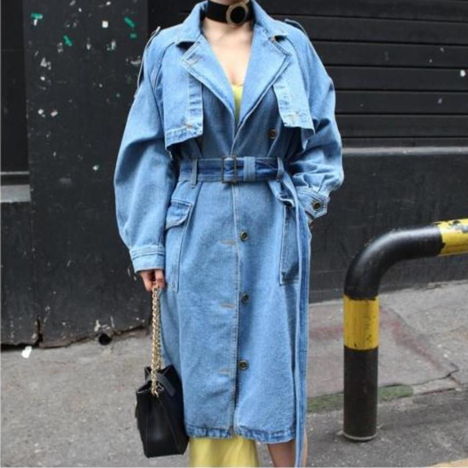 plus size 2XL!New Arrival   Trench   Coat Women Loose denim   trench   coat long single-breasted COAT