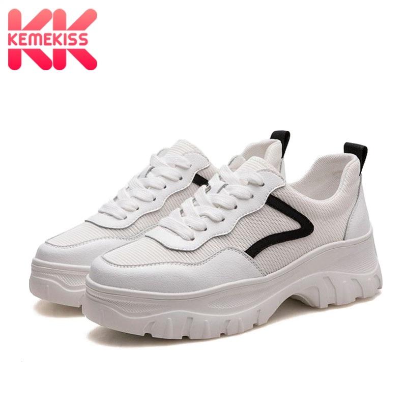 KemeKiss femmes baskets compensées en cuir véritable plate-forme décontracté blanc chaussures pour femmes en plein air marque Fitness Sneaker taille 35-39