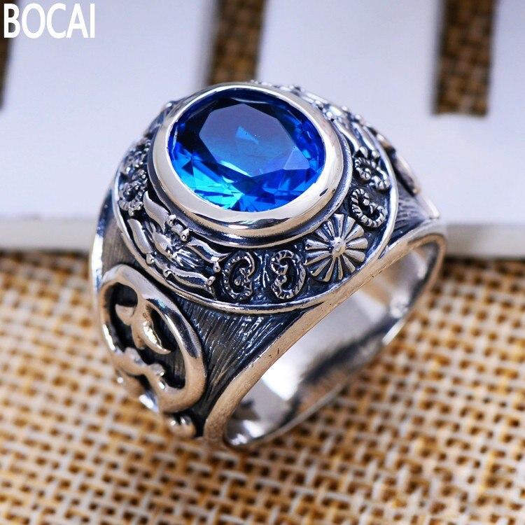 Gioielli in argento S925 argento retro sintetica blu anello di cristallo totem uomo prepotenteGioielli in argento S925 argento retro sintetica blu anello di cristallo totem uomo prepotente