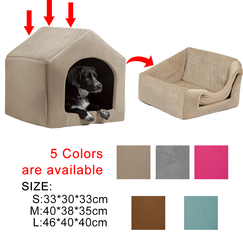 Pet Dog Cat Dome Bed Kitten Cave Cubby Cozy Baskets House Embossed Crate Warm Windproof Dog Puppy Kennel Cat Cushion Kitten Mat
