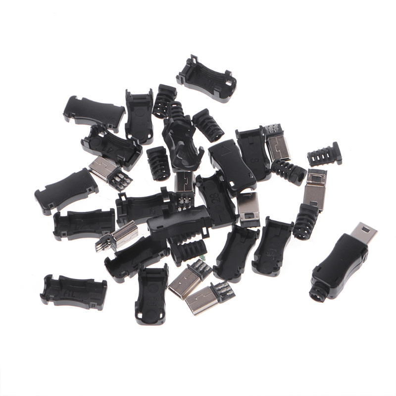 10Sets DIY Mini USB 2.0 5PIN Plug Socket With Plastic Cover With Tail Connector стоимость