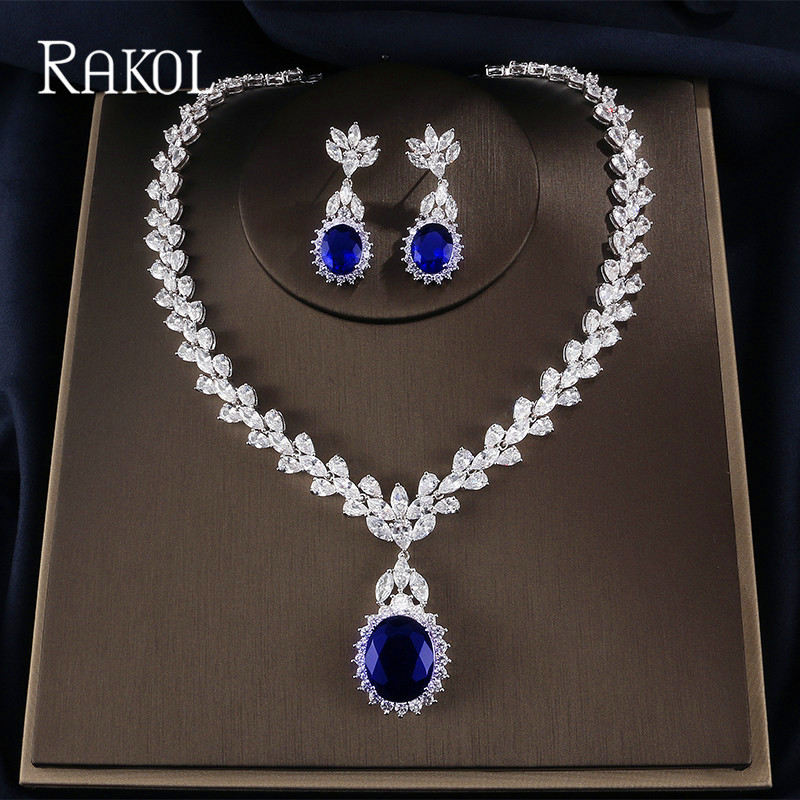 RAKOL Big Cubic Zirconia Dazzlingly Leaf Necklace Earrings Jewelry Set For Women Bridal Engagement Wedding Accessory a suit of vintage engraved leaf necklace and earrings for women