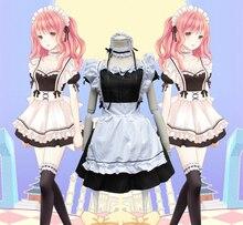 Japonés de cosplay del anime lindo mujeres de halloween costume party vestidos vestidos de lolita para las mujeres maid dress paño