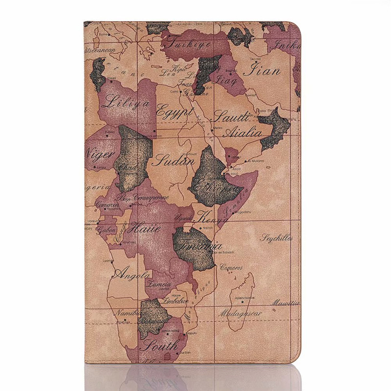 World Map Leather Case For Samsung Galaxy Tab A A2 10.5 Inch 2018 SM T590 T595 T597 Stand Function Card Slots Wallet Cover Bag