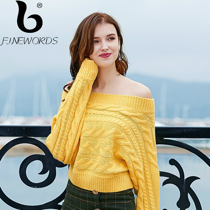 FINEWORDS New Winter Vintage Yellow Christmas Sweater Off The Shoulder Harajuku Kawaii Knit Sweater Women Casual Korean Pullover