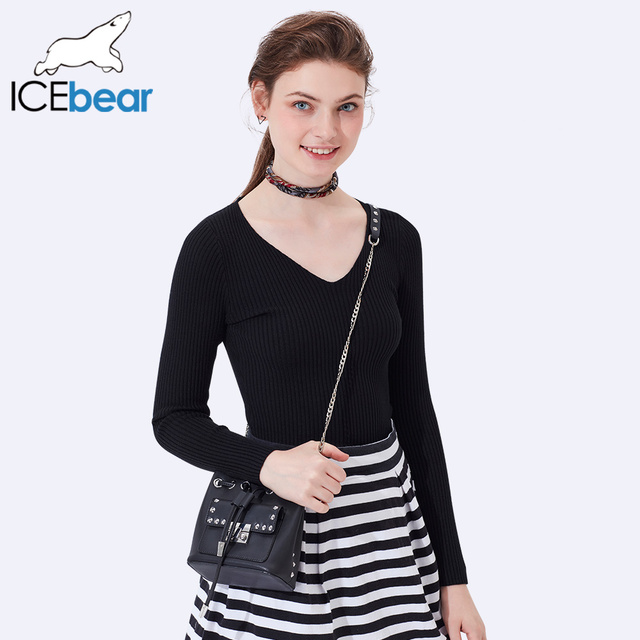 ICEbear 2017 New Fashion Women Sweaters Solid Sweater Long Sleeve Lady Pullover V- Neck Woman Sweater Pullover SZ0706D